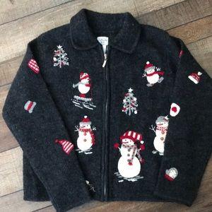 Talbots kids girls sz 12 wool cardigan snowman euc